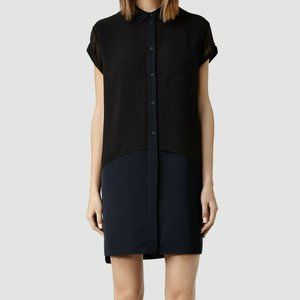 AllSaints Carolee Shirt Dress - Midnight/Black - S